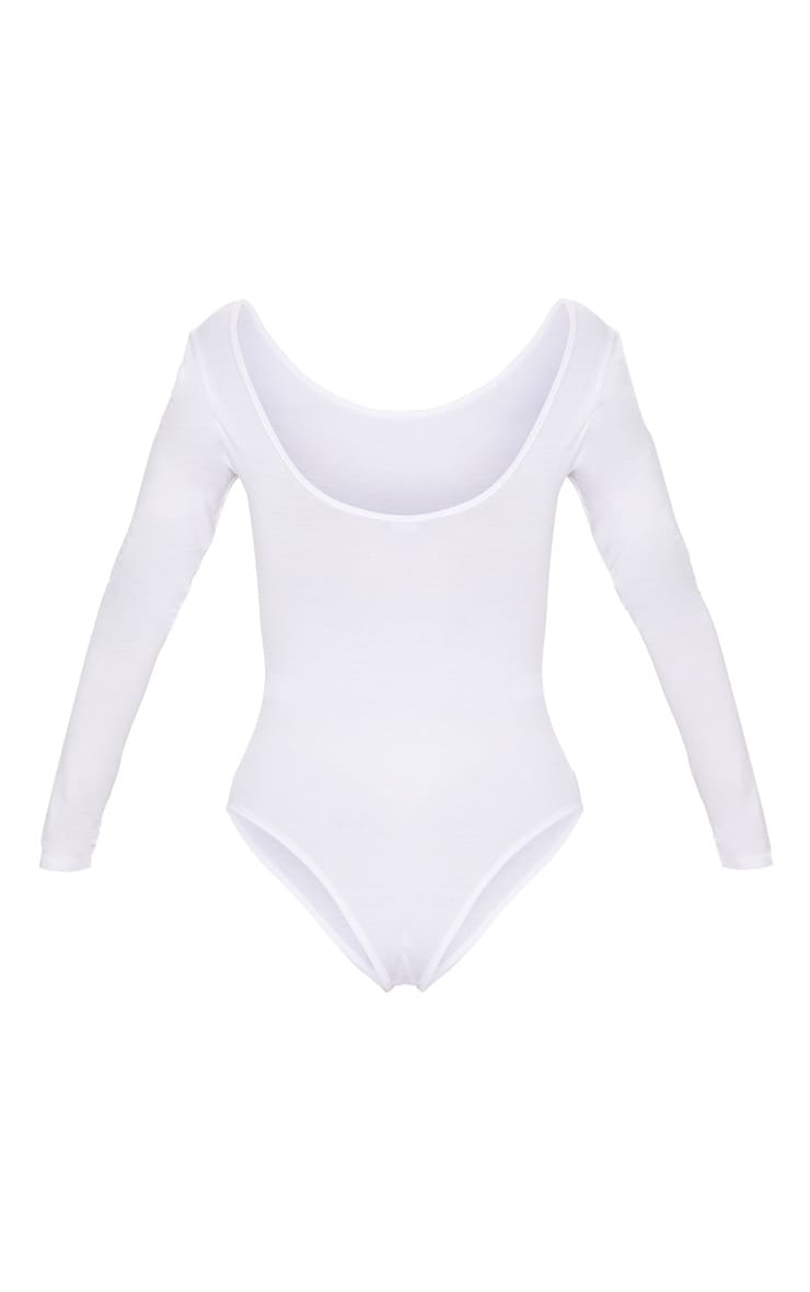 Basic White Scoop Back Long Sleeve Bodysuit 4