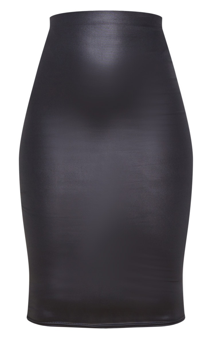 Black Leather Look Midi Skirt 6