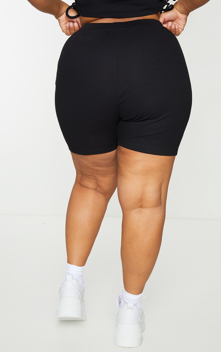 Plus Black Rib Cycle Shorts 3