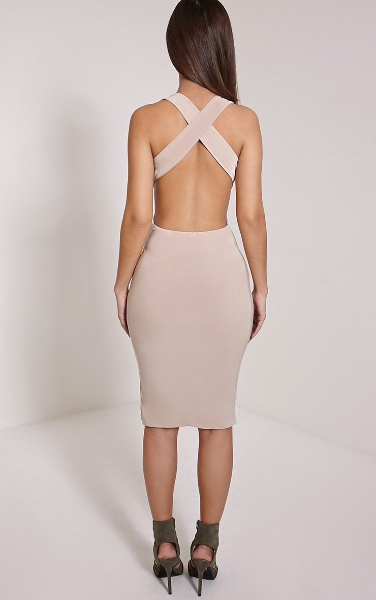 Petite Biddy Nude Deep Plunge Midi Dress 2