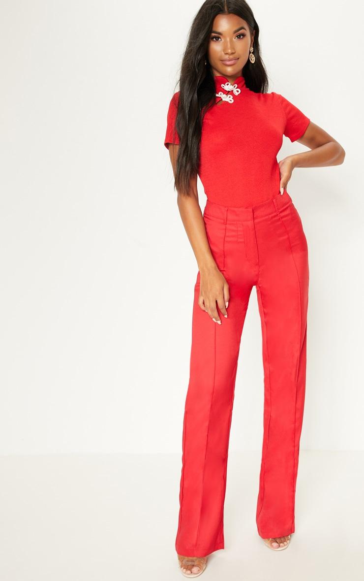 Red Oriental Trim Short Sleeve Bodysuit 5