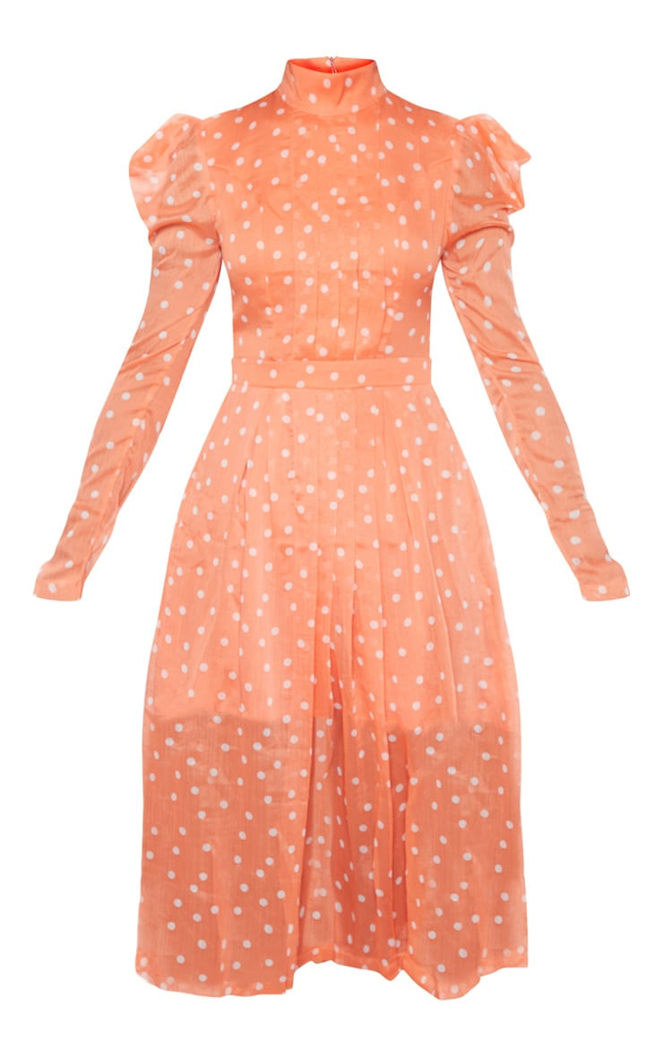 Orange Polka Dot Chiffon Midi Skater Dress 3