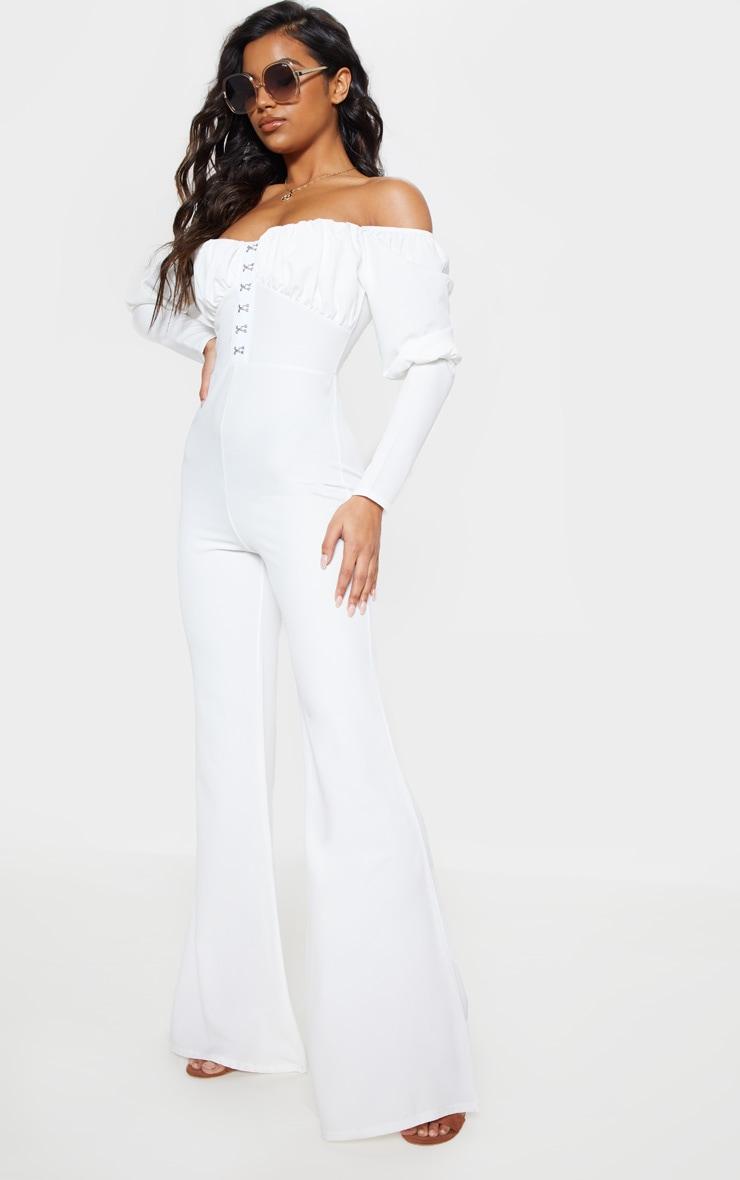 White Ruched Flare Leg Bardot Jumpsuit 2