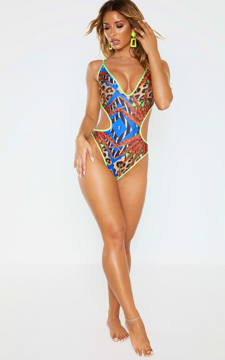Multi Mixed Jungle Print Cut Out Plunge Swimsuit 6