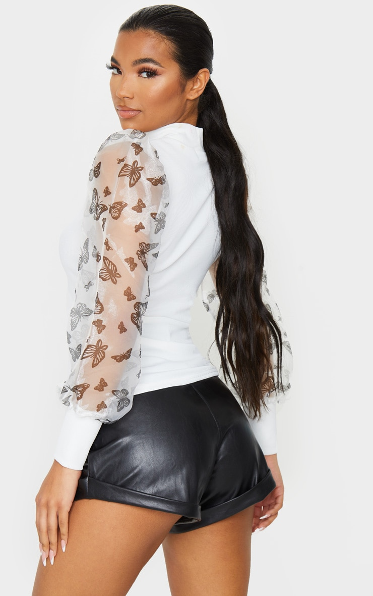 White Rib High Neck Sheer Butterfly Print Puff Sleeve Long Top 2