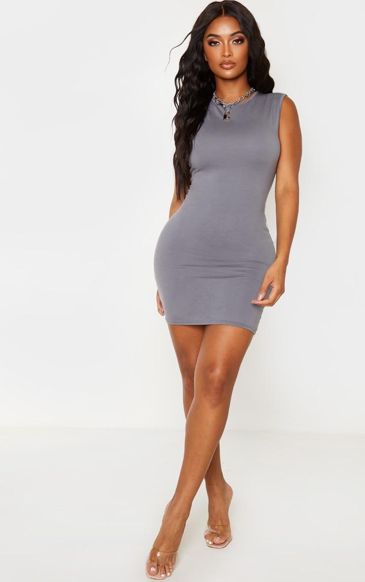 Shape Charcoal Cotton Sleeveless Bodycon Dress 4