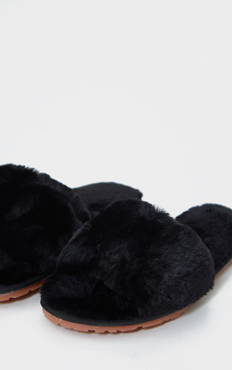 Black Fluffy Cross Strap Slider Slippers 4