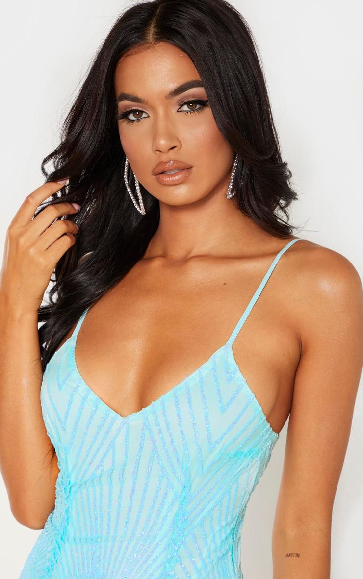 Sky Blue Glitter Diamond Strappy Plunge Bodycon Dress 5