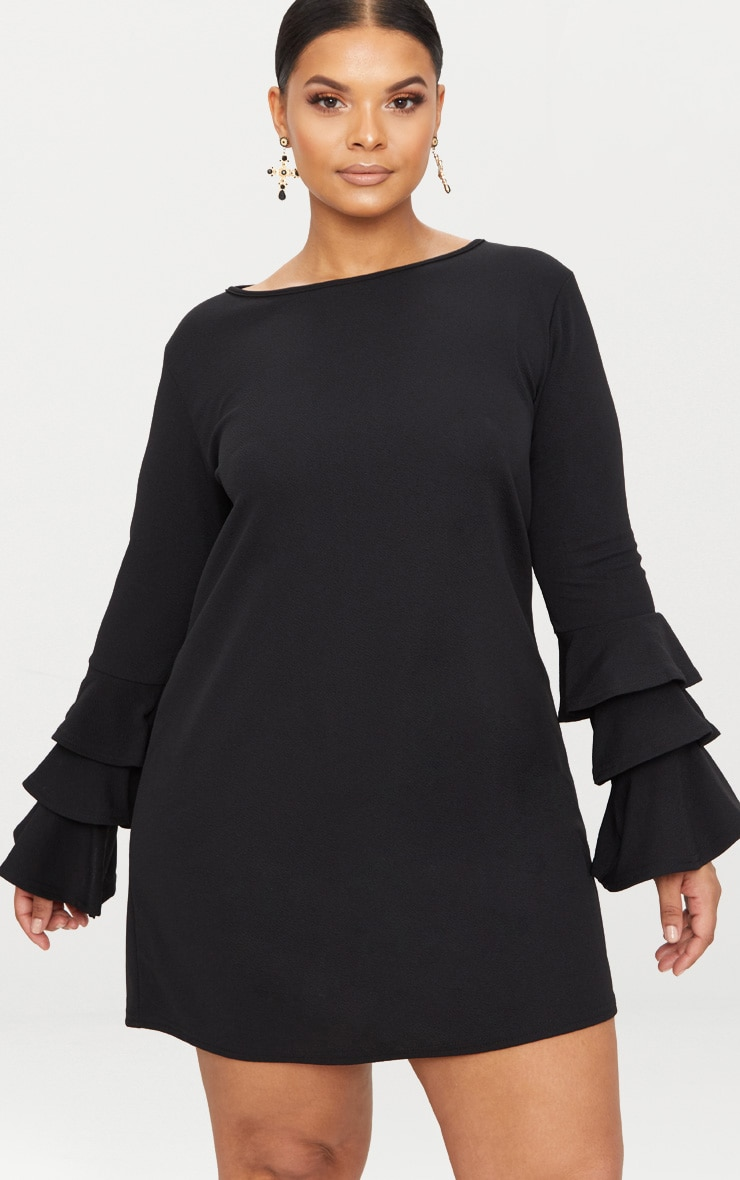 Plus Black Frill Sleeve Shift Dress 1