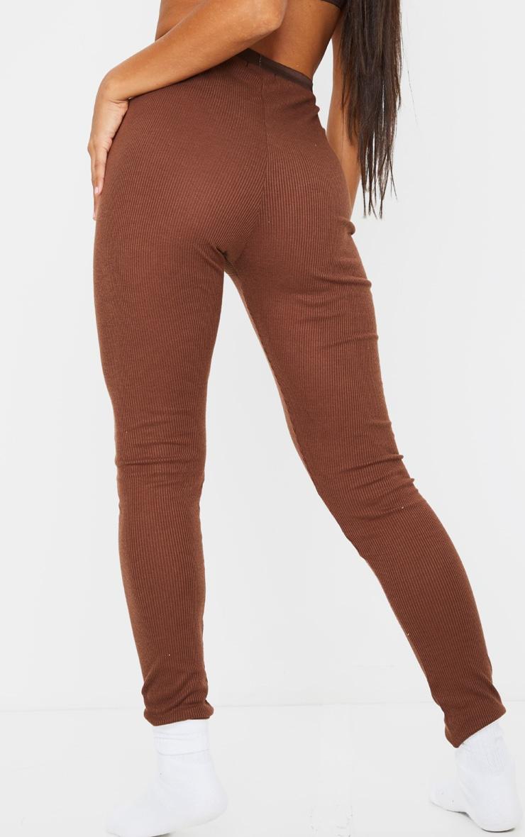 Chocolate Brown Ribbed High Waist Leggings 3