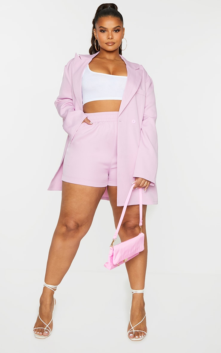Plus Lilac Ruched Waist Suit Shorts 1