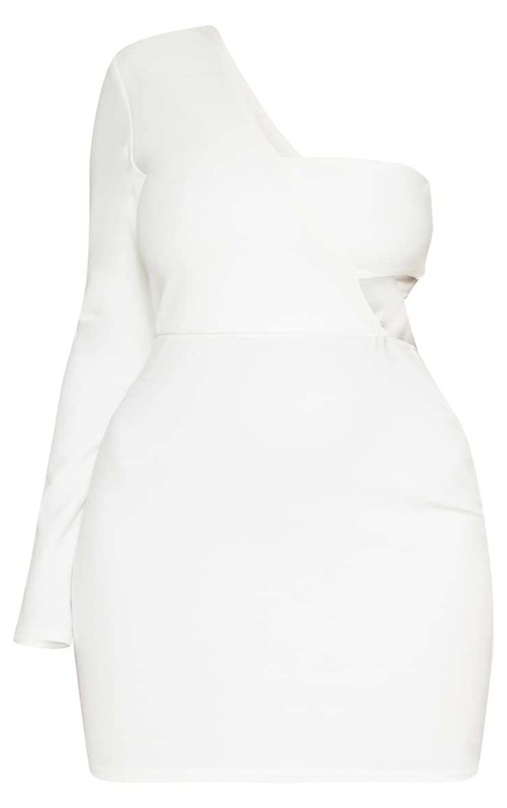Plus White One Shoulder Bodycon Dress 3