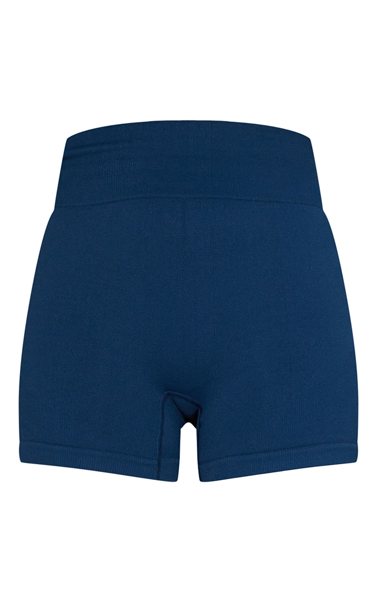 Navy Basic Seamless Booty Shorts 6
