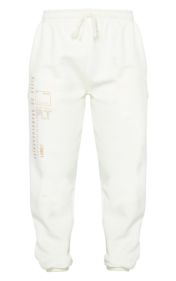 PRETTYLITTLETHING Cream Branded Archive Printed Joggers 5