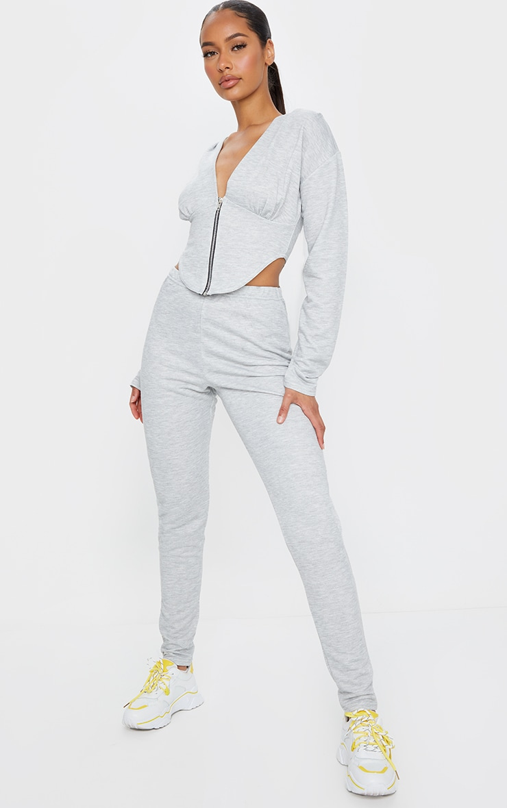 Grey Marl Zip Front Corset Detail Long Sleeve Sweat Top 3