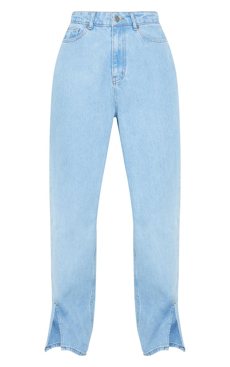 Light Blue Wash Boyfriend Split Hem Jeans 5