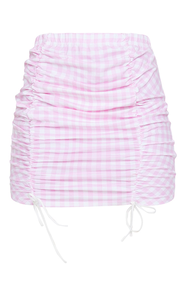 Pink Gingham Ruched Detail Mini Skirt 6