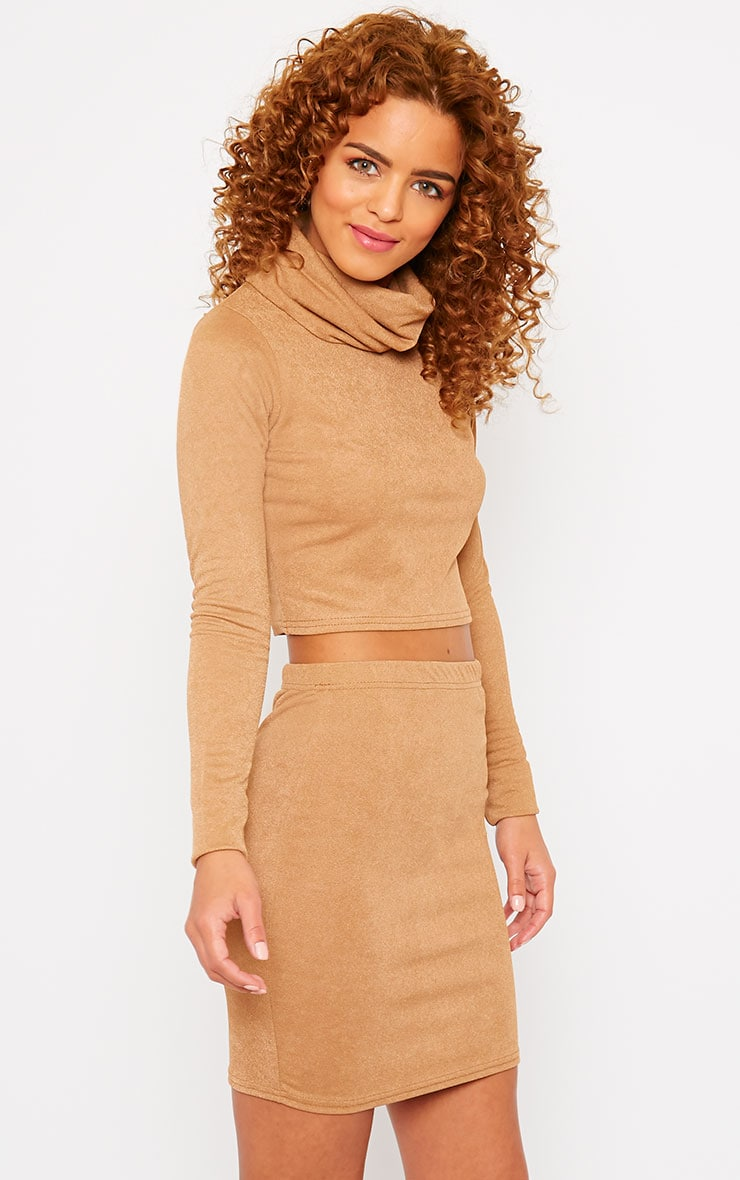 Emilia Camel Crepe Roll Neck Crop Top  4