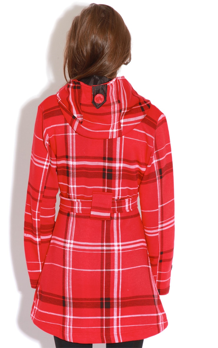 Taylor Red Tartan Trench Coat 2