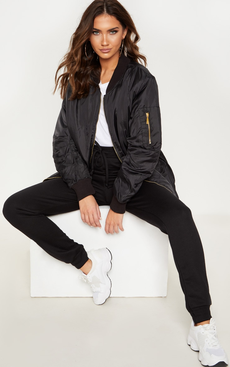 Shelbi Black Longline Bomber Jacket 2