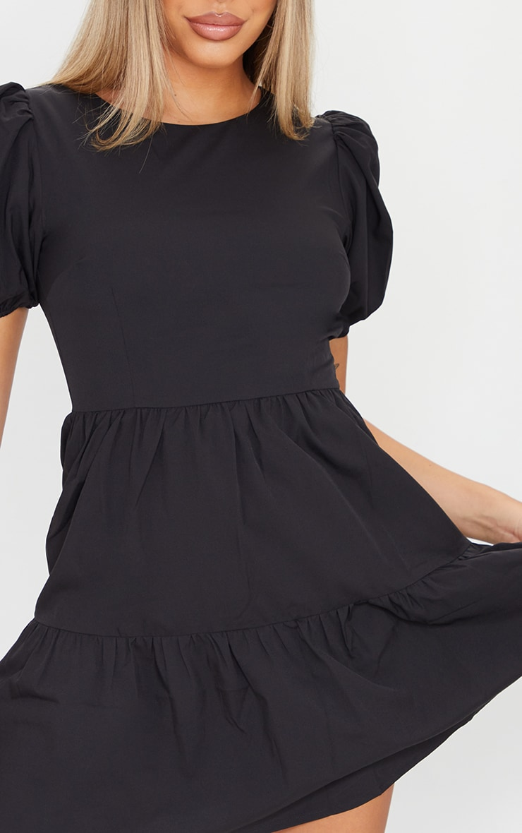 Black Woven Tiered Puff Sleeve Smock Dress 4