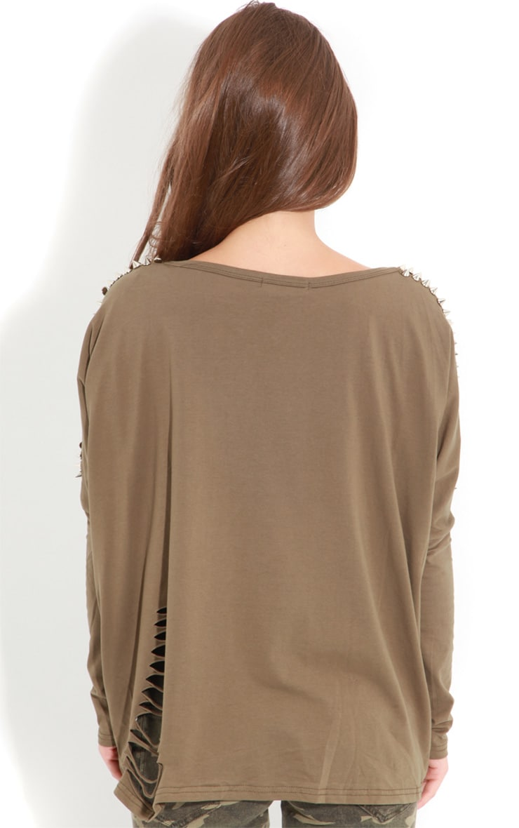 Maura Khaki Tee With Spike And Slit Detail 2