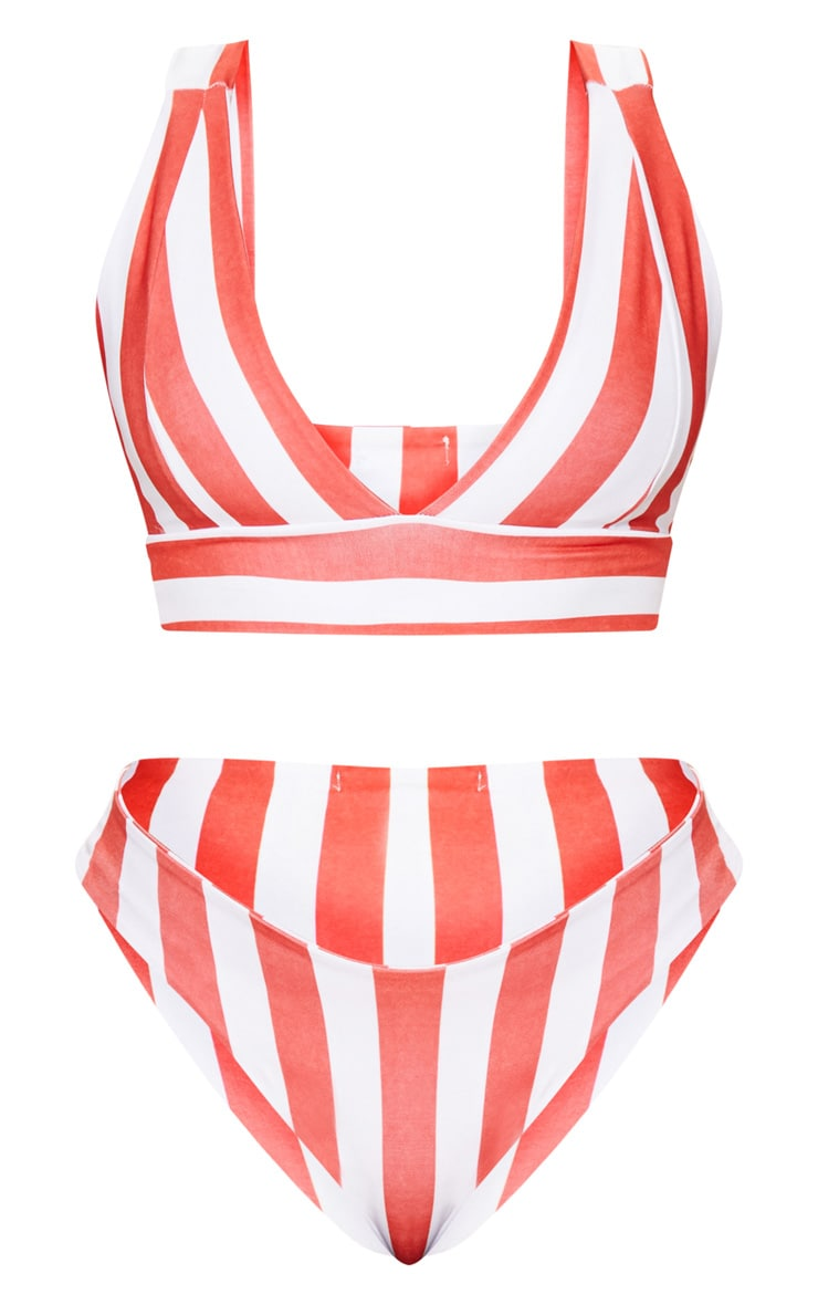 Plus Red Striped High Rise Bikini Set  3