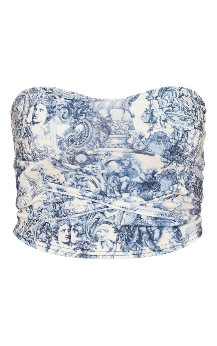 Blue Renaissance Print Velvet Bandeau Tie Detail Long Top 3