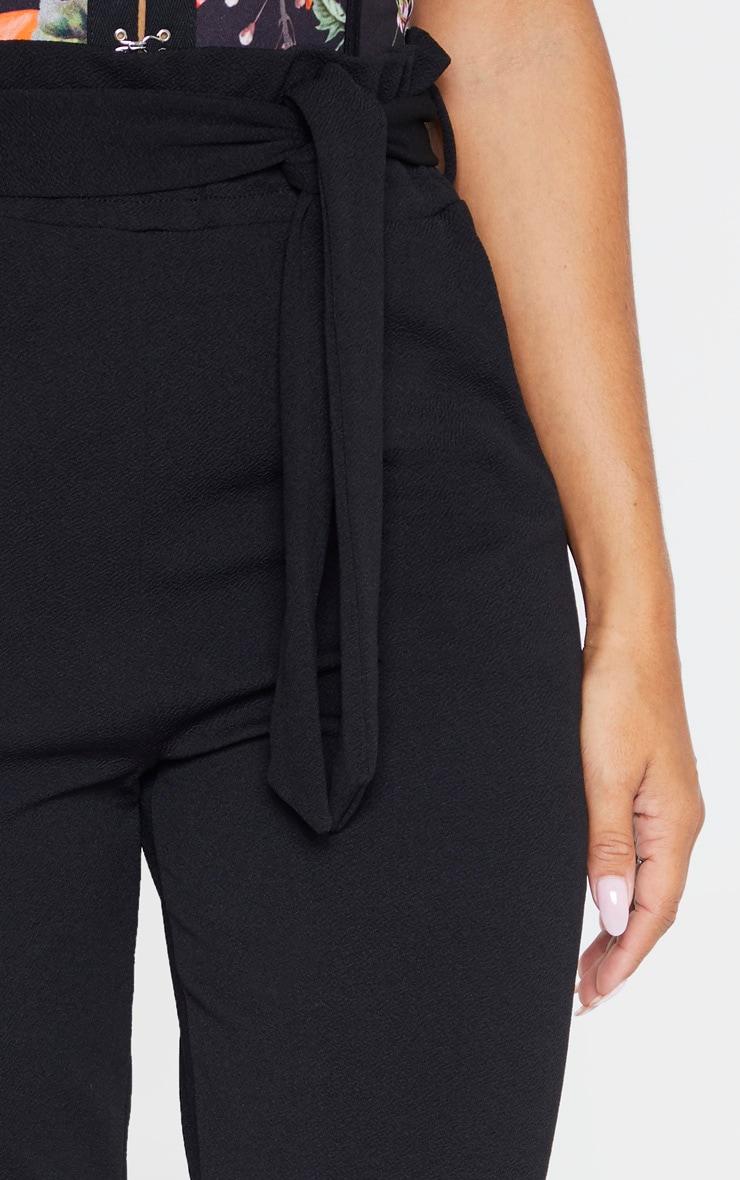 Black Crepe Tie Waist Turn Up Hem Skinny Trouser 5