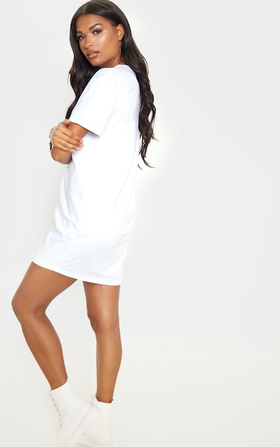 White Ruched Side T Shirt Dress