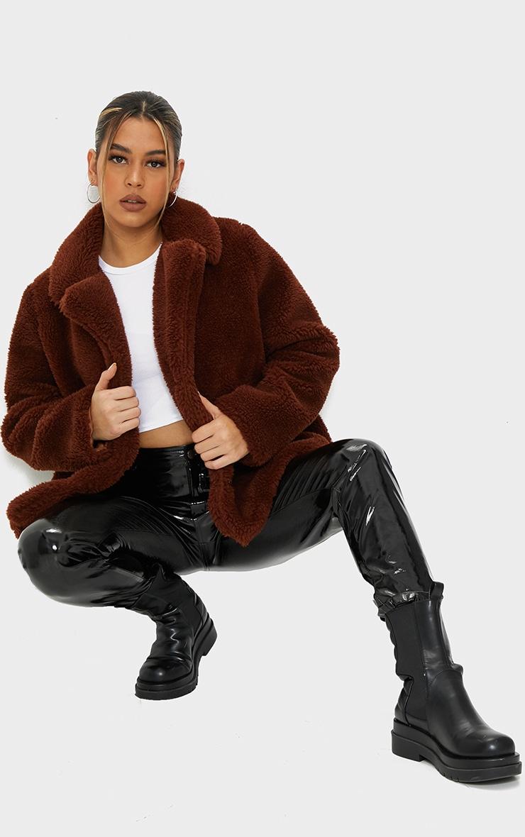 Brown Faux Fur Popper Button Down Jacket 3
