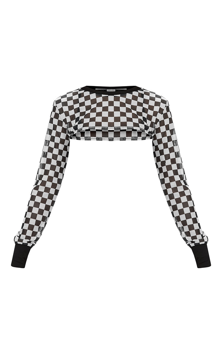 Monochrome Mesh Motocross Checkerboard Print Extreme Crop Top 3