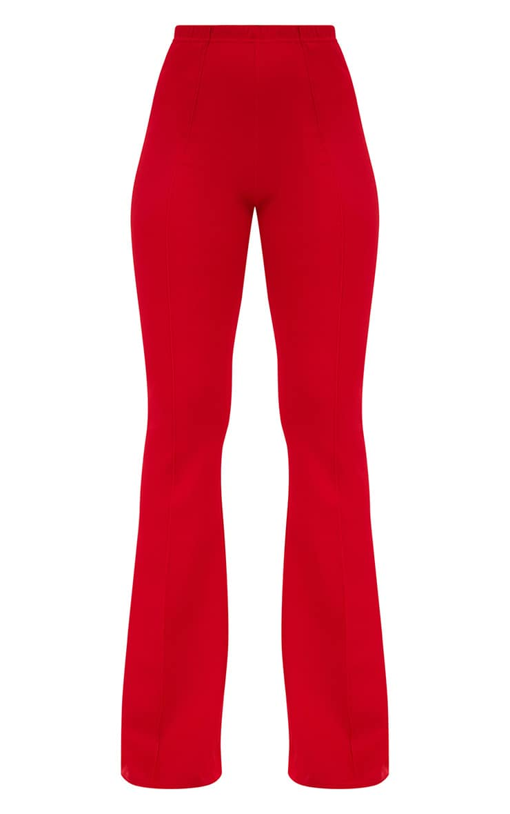 Red High Waist Extreme Flare Long Leg Pants 3