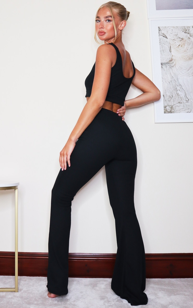 Black Soft Rib Scoop Bralette And Flared Trouser Lounge Set 2