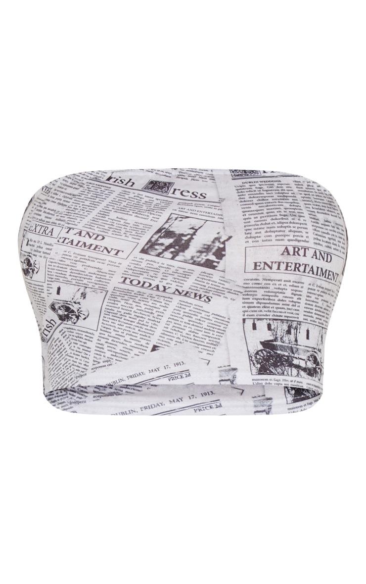 Cream Newspaper Printed Bandeau Crop Top 3