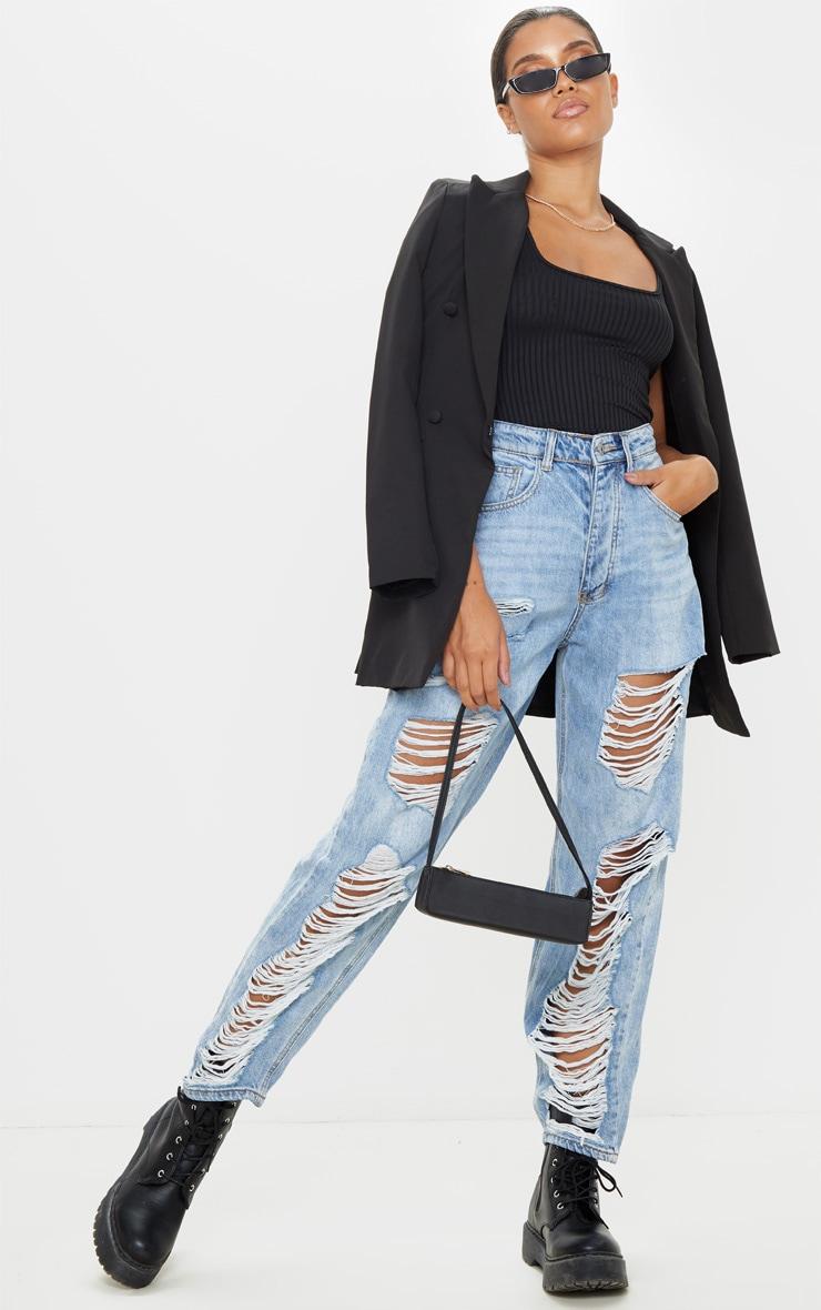 Black Rib Scoop Neck Sleeveless Bodysuit 5