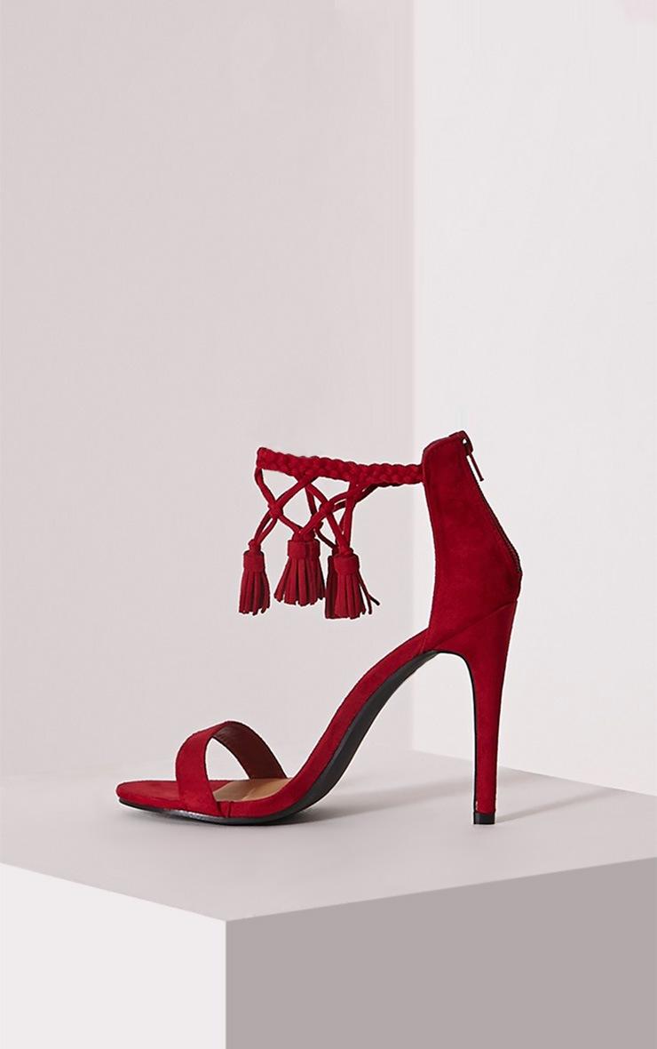 Dulce Red Tassel Tie Heeled Sandals 4