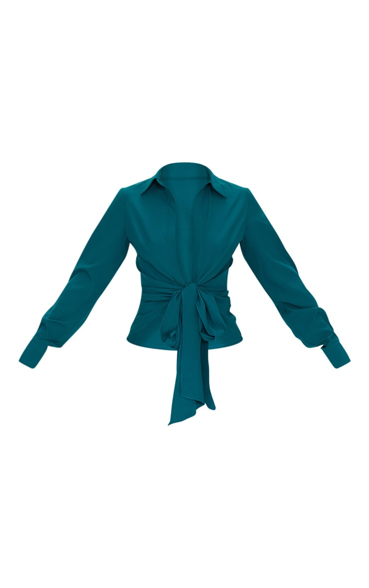 Teal Woven Tie Front Shirt 5