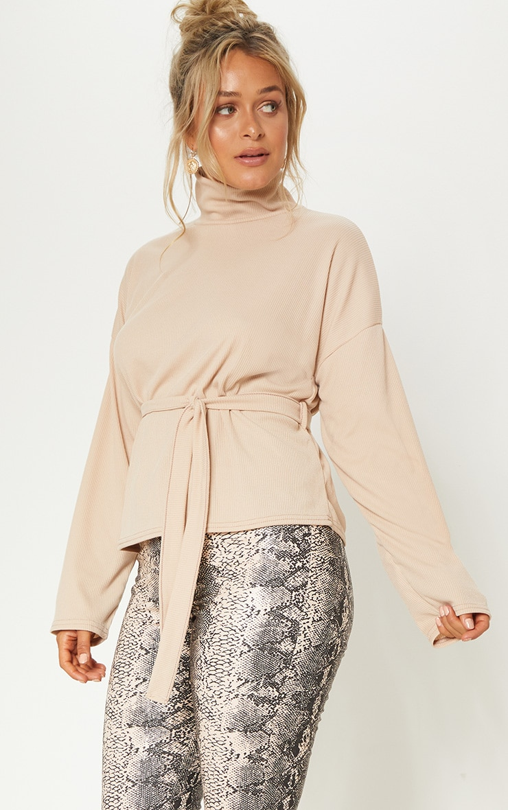 Stone Belted Long Sleeve Roll Neck Top 1