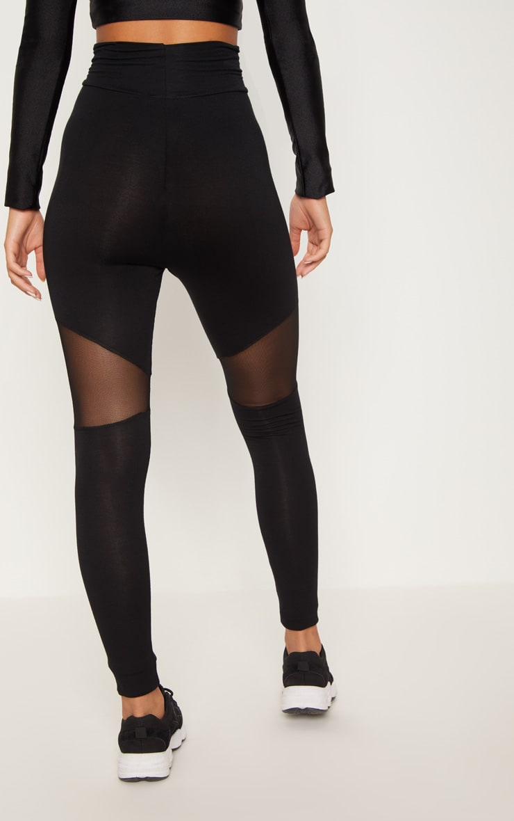 Black Mesh Panel Jersey Legging  4