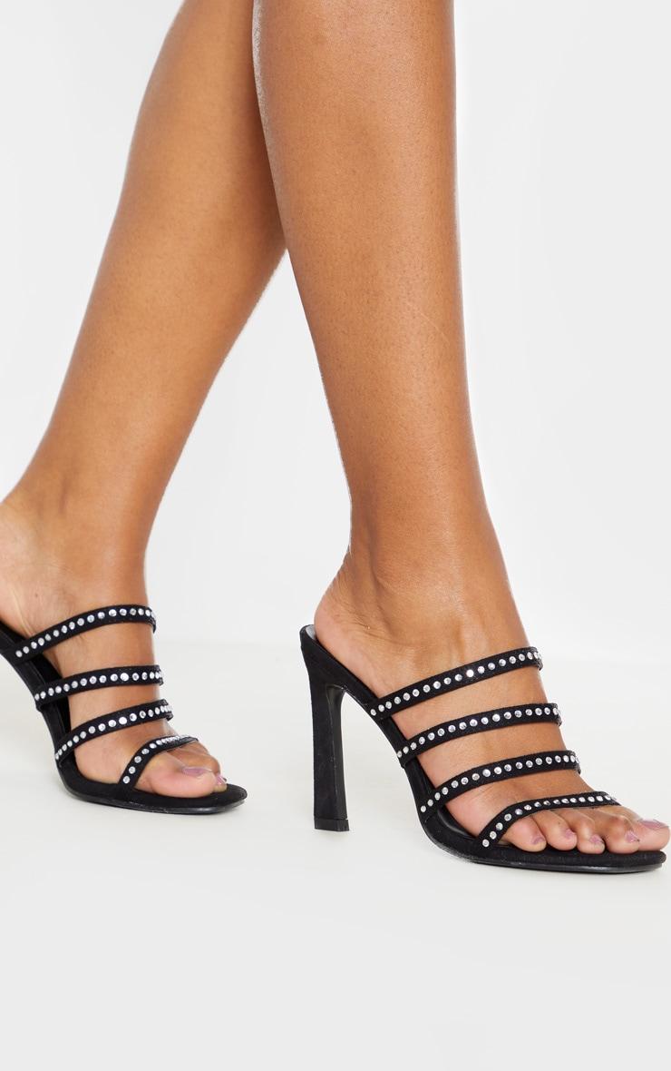 Black Square Toe Multi Strap Diamante Mule Sandal 2