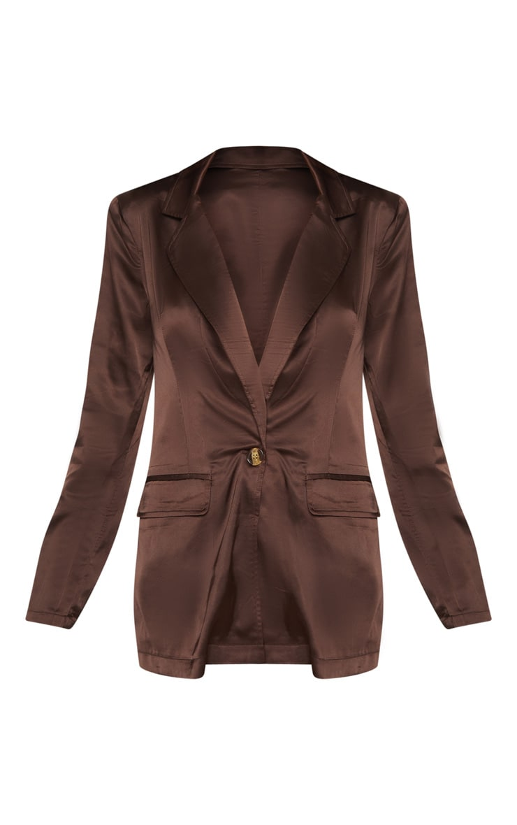Chocolate Satin Oversized Blazer  3