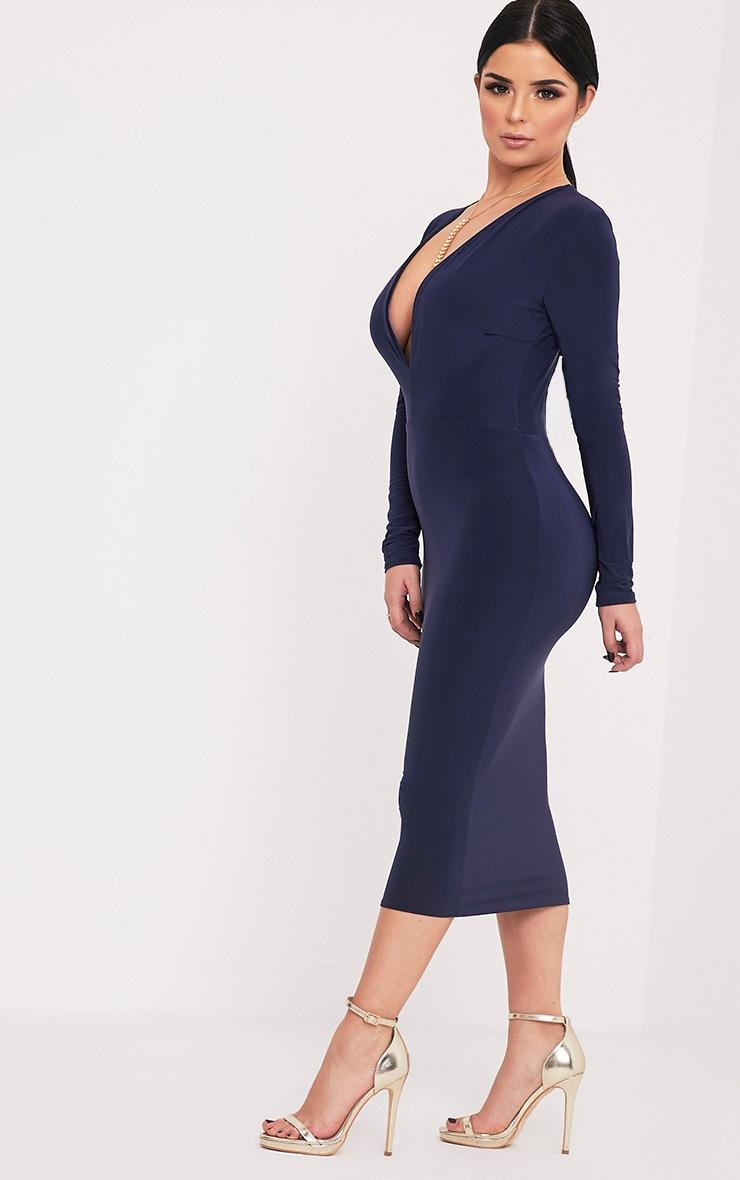 Shape Dennie Navy Plunge Slinky Midi Dress 4