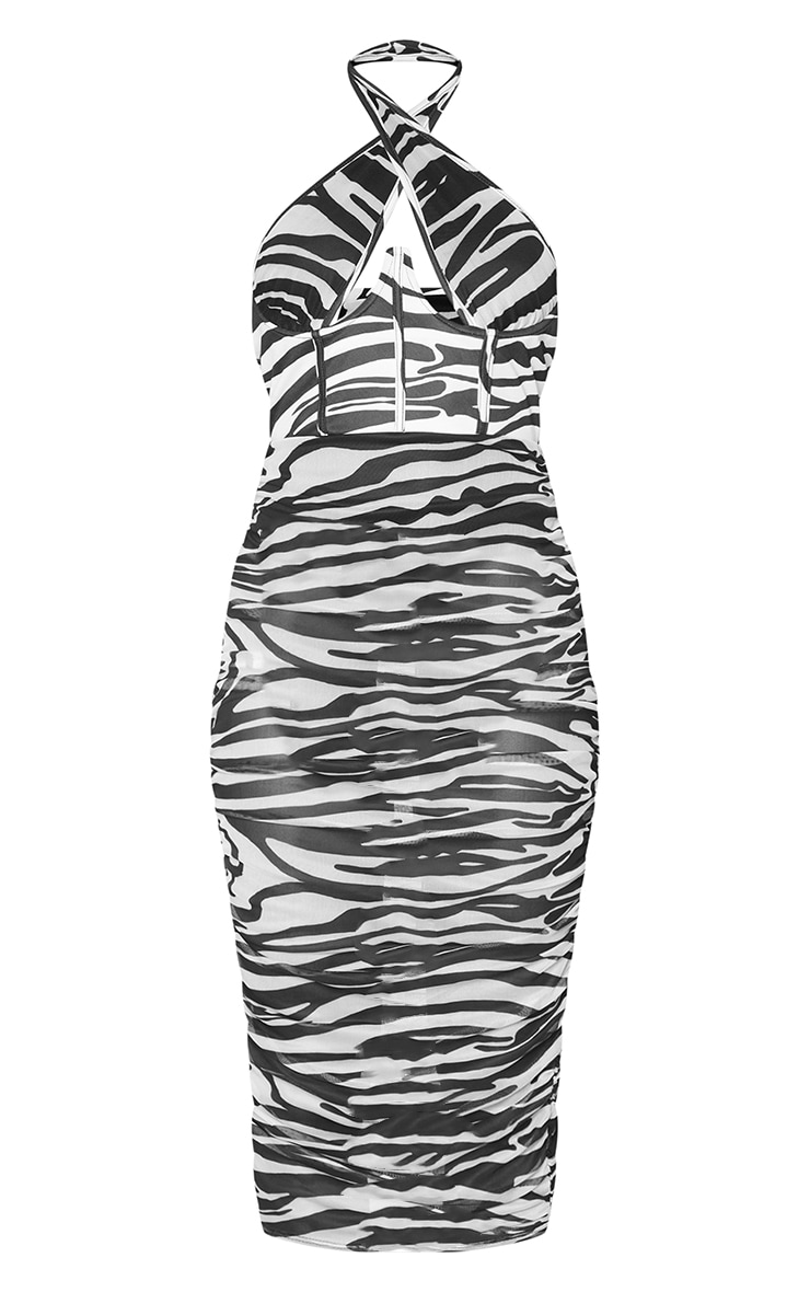 Monochrome Zebra Print Mesh Underbust Corset Detail Midaxi Dress 5