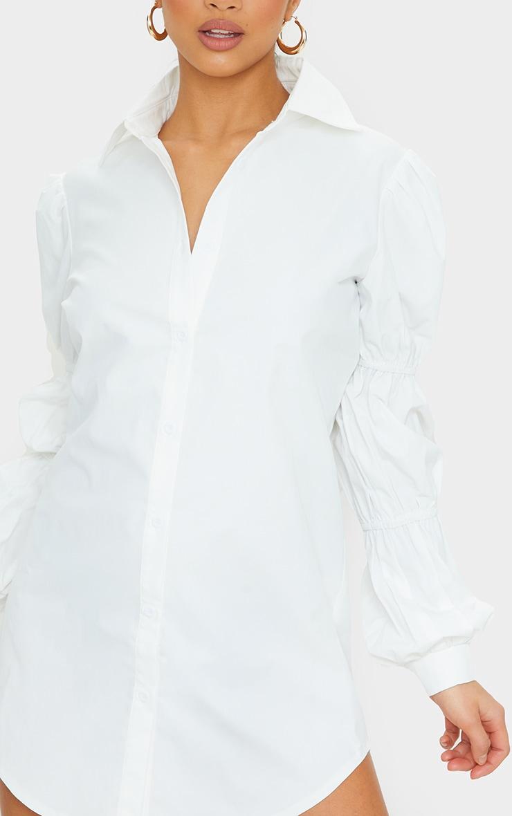 Petite White Ruched Sleeve Oversized Shirt Dress 4
