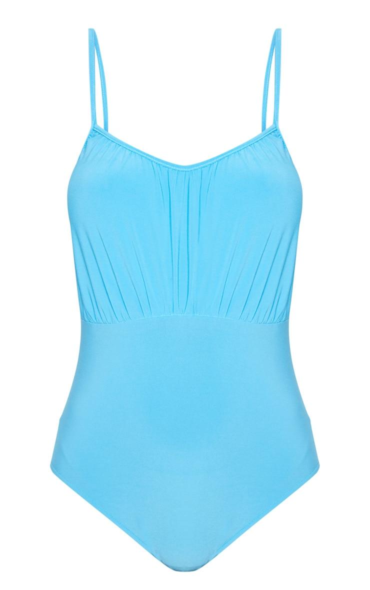 Body turquoise slinky à buste froncé 3
