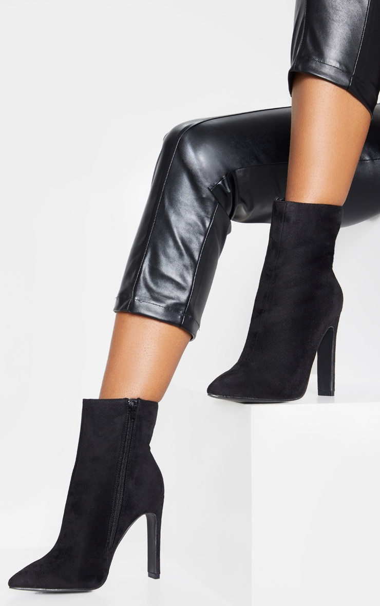 Black Wide Fit Flat Heel Point Ankle Boot 2