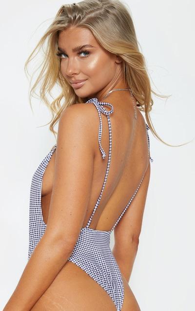 Gingham Tie Strap Swimsuit