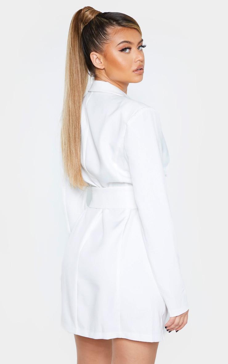 White Pin Detail Corset Blazer Dress 2