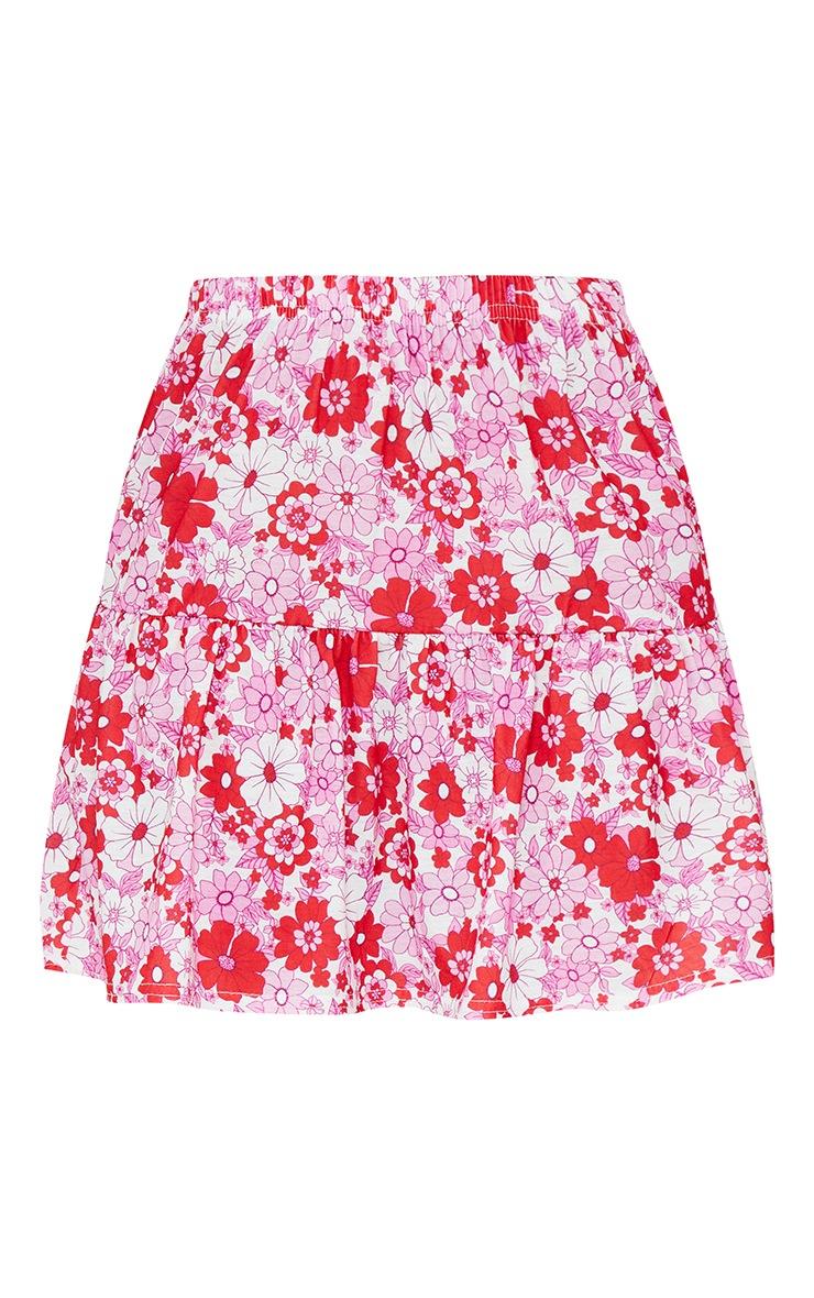 Red Floral Cotton Frill Hem Mini Skirt 6